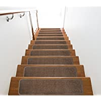 Slip Skid Resistant Rubber Back Stair Tread Mats, Indoor, Garnet Collection, 8 inch by 30 inch, Cappuccino, Set of 9