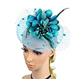 Big Flower Headband Netting Mesh Hair Band Cocktail Hat Party Fascinator, Lake Blue, One Size