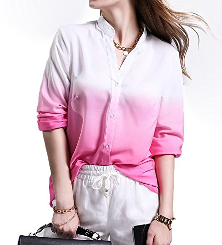 Las Mujeres Blusa De La Gasa Camisa Suelta De Manga Larga Blusa Camisera Cuello En V Pink