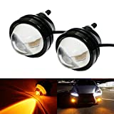 led amber driving lights - iJDMTOY (2) Amber Yellow 5W CREE High Power Bull Eye LED Projector Lamps, Good For Driving DRL Lights, Fog Lights or Parking Position Lights