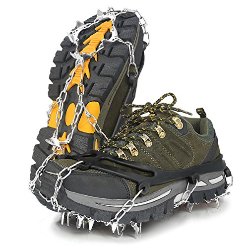 Fypo Walk Crampons Traction Cleats Grippers Boots Shoes, Ice Cleats Snow Grips, Non-Slip Grips for Climbing Walking Fishing Hiking Jogging
