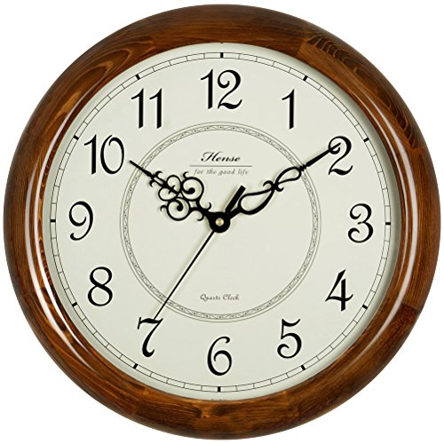 Wall Clock Quartz Mute (Hense Retro Vintage Silent Wall Clocks Concise 14-inch Mute Quartz Movement Kitchen Living Room Decorative Wall Clock with Sweep Second Hand Soild Wood HW18 (Brown))