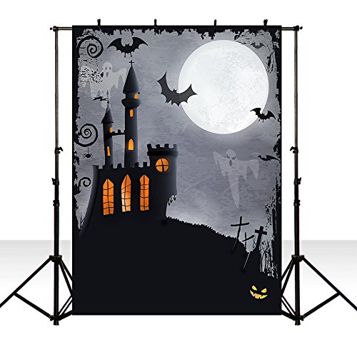 MEHOFOTO Halloween Party Decoration Photo Studio Booth Backgroud Black Night Horrible Castle Ghost Backdrops for Photography -