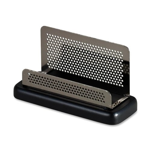 (Rolodex Distinctions Pewter Business Card Holder - 6.4quot; x 4.8quot; x 4.8quot; - Wood, Steel - 1 Each - Black)