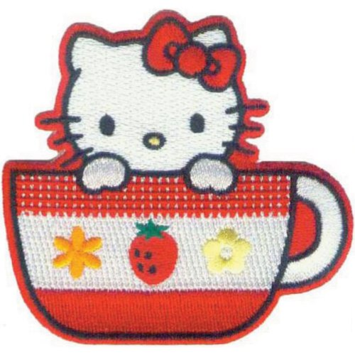 Application Hello Kitty Tea Cup Patch - Hello Kitty Applique
