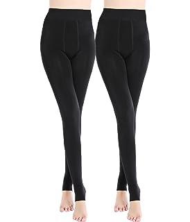 0b3ca131e7c465 Romastory Women's Winter Warm Fleece Lined Tights High Waisted Elastic  Leggings Pants (Black 2-