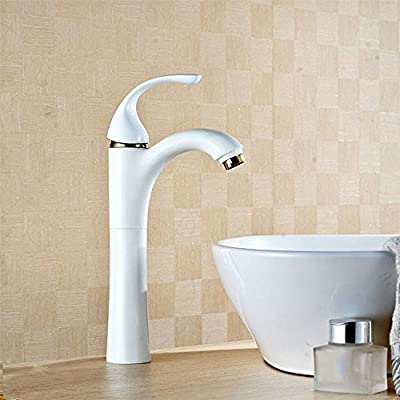 ETERNAL QUALITY Bathroom Sink Basin Tap Brass Mixer Tap Washroom Mixer Faucet The copper and stylish grill white paint atmospheric sit-in hot and cold basin mixer Kitchen Sink Taps