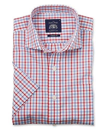 Savile Row Men's Blue Red White Windowpane Check Classic Fit Short Sleeve Casual Shirt XXXL -