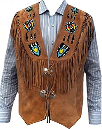 SRHides Men's Indian Western Leather Vest Fringed & Beaded Brown X-Small
