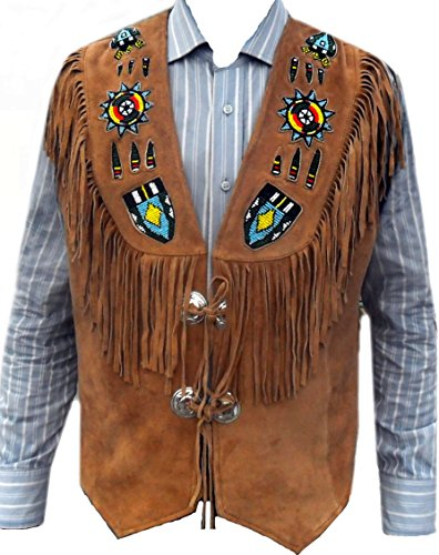 Sleekhides Men's Indian Western Leather Vest Fringed & Beaded Brown -