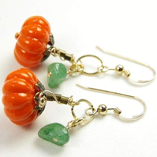 Orange Aventurine Dangle Earrings with Key Charm
