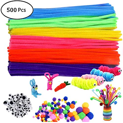 500Pcs Pipe Cleaners Craft Set,Including 100 Pcs Chenille Stems 200 Pcs Pom Poms Craft 200 Pcs Wiggle Googly Eyes Self Adhesive,Assorted Colors and Assorted Sizes for DIY Art Craft
