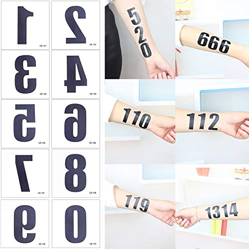 50 Sheets Numbers Finger Neck Face Temporary Tattoo Sticker DIY Body Art (Temporary Tattoo Numbers)