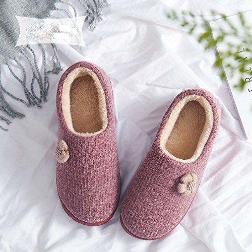 cuir couleur unie de haute qualité tissu velours pantoufles couple confortables avec des chaussons en coton épais,rouge,44