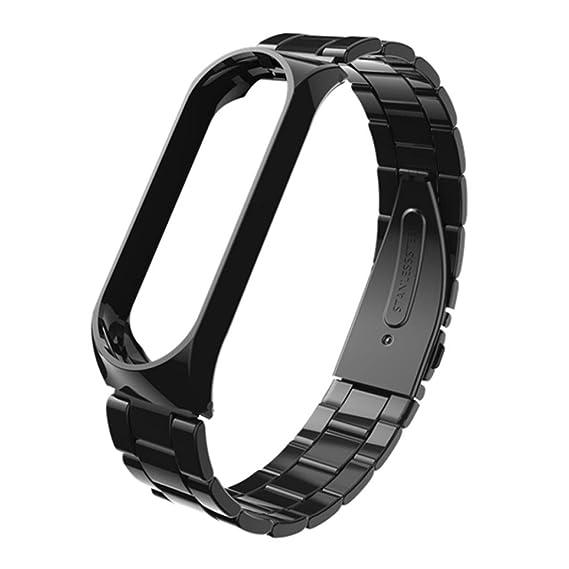 Correa de Reloj Inteligente para Xiaomi MI Band 3, Sencillo Vida, Pulsera Ligera de Acero Inoxidable de Moda, Watch Band Strap: Amazon.es: Relojes