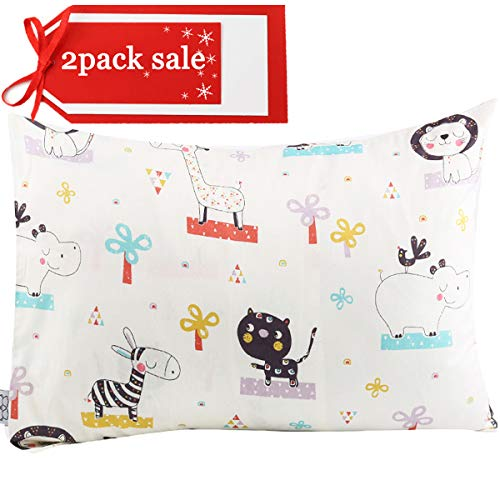 Kids Toddler Pillowcases UOMNY 2 Pack 100% Cotton Pillowslip Case Fits Pillows sizesd 13 x 18 or 12x 16 for Kids Bedding Pillow Cover Baby Pillow Cases Elephant/Cat