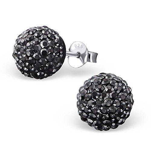 Laimons Damen-Ohrstecker Halbkugel glitzer schwarz aus Sterling Silber 925