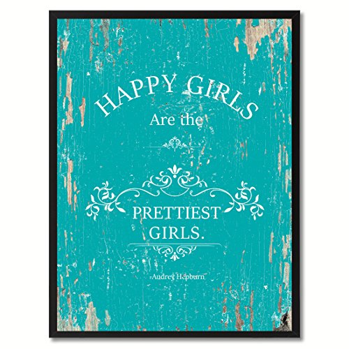 Happy girls are the prettiest girls - Audrey Hepburn Quote Saying Canvas Print with Custom Picture Frame Home Decor Wall Art (Audrey Hepburn Decor)
