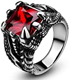 SOMEN TUNGSTEN Men's Stainless Steel Ring Gothic Dragon Claw Design with Red Stone Size 9.5
