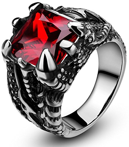 SOMEN TUNGSTEN Men's Stainless Steel Ring Gothic Dragon Claw Design with Red Stone Size 8.5 (Birthday Boy Ring)