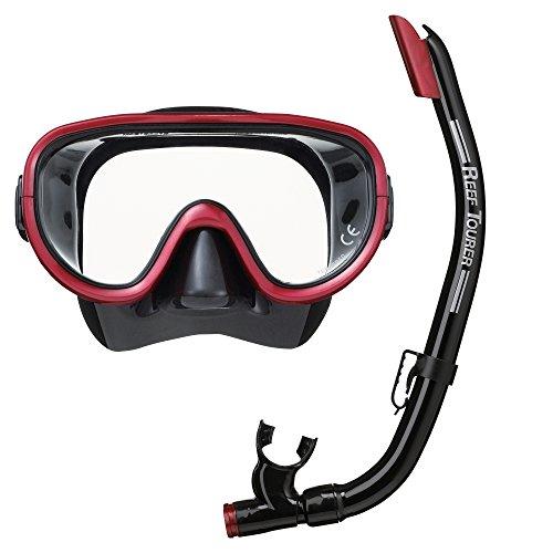 REEF TOURER ReefTourer Adult Single-Window Mask & Snorkel Combo Set, Black/Metallic Dark Red