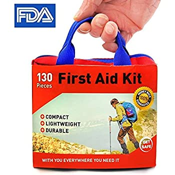 First Aid Kit Ultra-light - 130 Supplies Medical - by Get Safe - Bonus Flashlight Included - FDA Approved and Ideal for Travel Plus Home