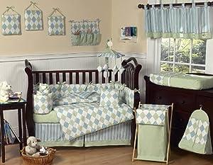 Modern Blue and Green Argyle Baby Boy Beddings 9pc Crib Set by Sweet Jojo Designs