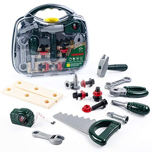 Kids Tool Set for Boys Girls, Toddler Tools Kit Tool Box with A Handy Case Great Xmas Gifts Birthday Present for Children 4 5 6 7 8 9 Years Old