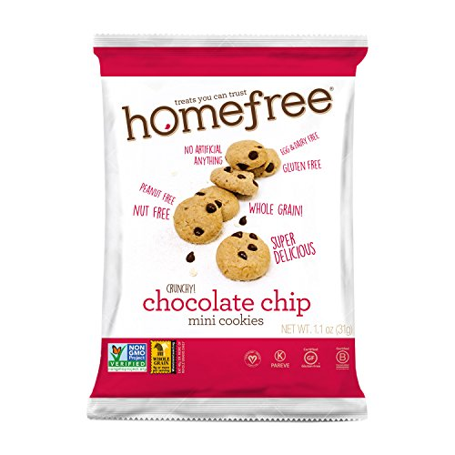 Homefree Treats You Can Trust Gluten Free Mini Chocolate Chip Cookie, Single Serve bag, 1.1 Ounce (Pack of 10) (Treat Cookies)
