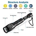 Lampe Torche LED Ultra Puissante, Ledeak Cree XM-T6 1000 Lumens Lampe de poche Militaire Tactique, Zoomable Etanche 5… 7