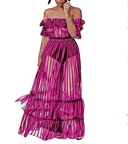 Through Shoulder Ruffle Red Monzocha See Long Nightclub Maxi Dress Rose Dress Women's Mesh Off wHRqHtU