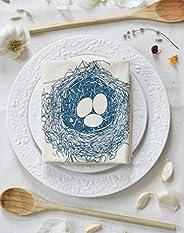Organic Cotton Nest Tea Towel in Blue