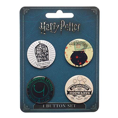 (Harry Potter Button Pins Set - 4-Piece )