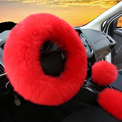 3Pcs Set Womens Winter Fashion Wool Fur Soft Furry Steering Wheel Covers Red Fluffy Handbrake Cover Gear Shift Cover Fuzz Warm Non-slip Car Decoration Long Hair (Red Fur Wheel Cover)