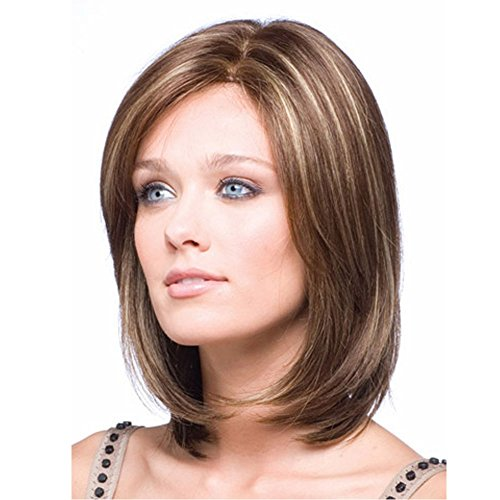 MILISI Bob Wigs for Women Brown Mix Short Straight Hair Natural Full Wigs + Wig Cap by MILISI
