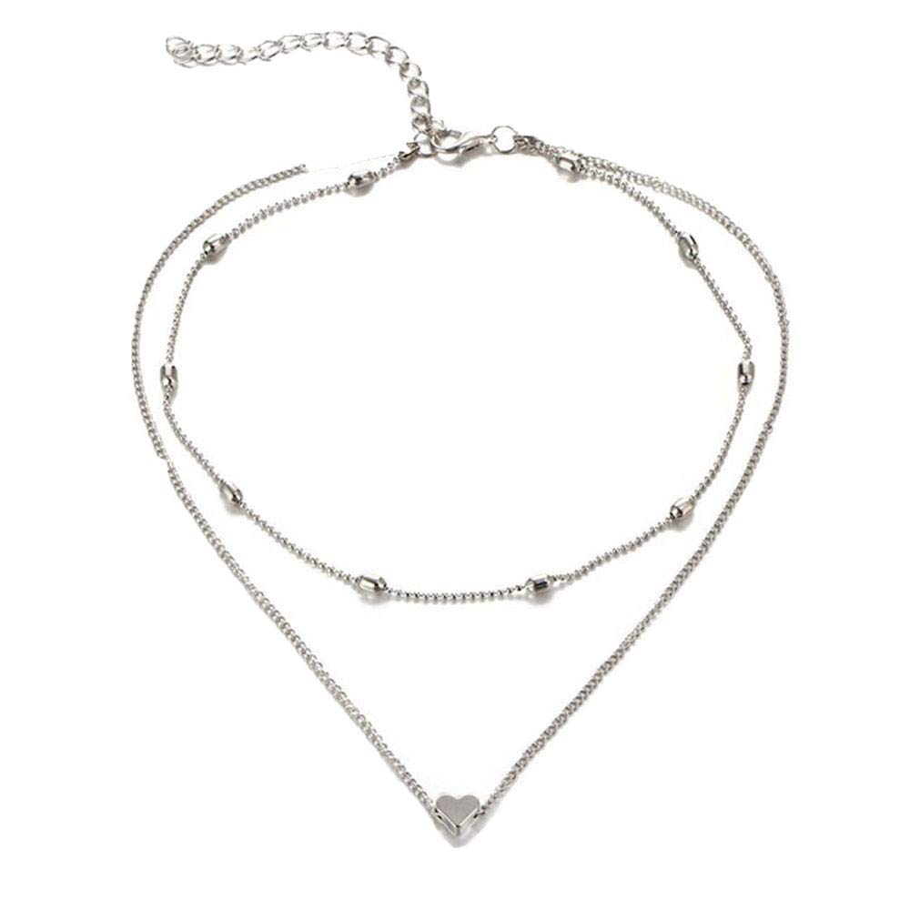 Cewtolkar Women Necklace Double Horn Pendant Heart Chain Multi Layer Necklace Anniversary Pendant Girlfriend Chain (Silver)