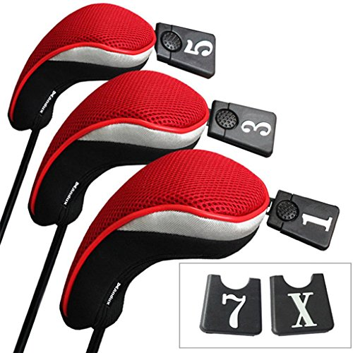 Andux Golf Wood Driver Head Covers Interchangeable No. Tag 3 Set Mt/mg01 Black & Red