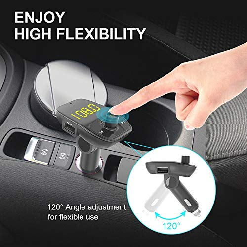 Wireless Car Kit Radio Transmitter with LED Display DIGMALL Bluetooth FM Transmitter with Charger Dual USB Port Bluetooth 4.2 Car Aux Adapter with Hands-Free Call /& Music Streaming TF Reader