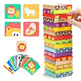 Toys : TOP BRIGHT Colored Wooden Blocks Stacking Board Games for Kids Ages 4-8 with 51 Pieces