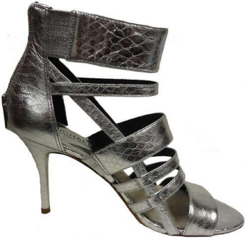 MICHAEL KORS Shiloh Open Toe Metallic Embossed Leather, Silver, 10