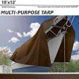 BOUYA 10' x 12' Tarp 16-mil Super Heavy Duty Thick Material, Multi-Purpose Waterproof Reinforced Rip-Stop with Grommets, UV Resistant, Tarpaulin Canopy Tent, Boat, RV or Pool Cover, Brown