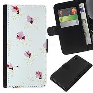 KLONGSHOP // Tirón de la caja Cartera de cuero con ranuras para tarjetas - Patrón Gris Amarillo Oro minimalista - Sony Xperia Z2 D6502 //