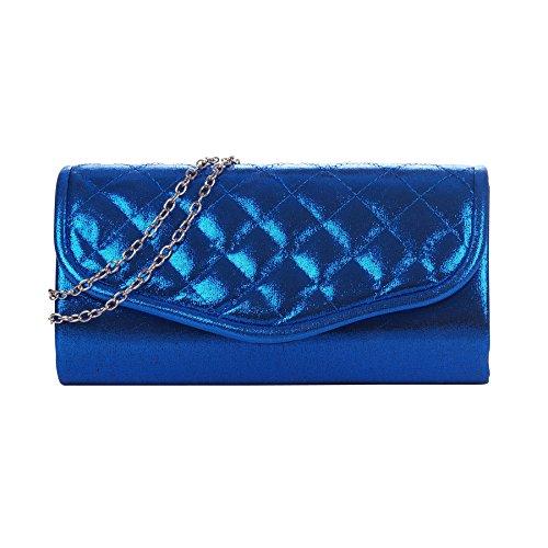 Pochette mariage bleu roi métallisée rabat matelassé - Pochette soirée - Sac à main