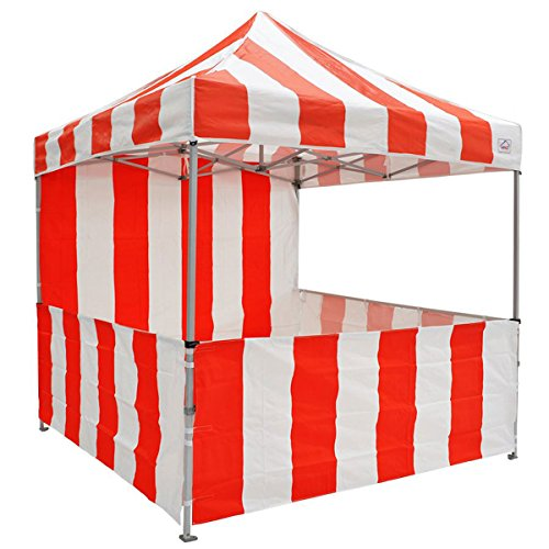 (Impact Canopy 10' x 10' Pop-Up Canopy Tent, Carnival Tent Kit with Powder-Coated Steel Frame, Sidewall, and Half Walls, Red/White Stripe)