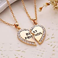 Thanyaluk Best Friend Heart Silver Gold Rhinestone 2 Pendants Necklace Bff Friendship Gift