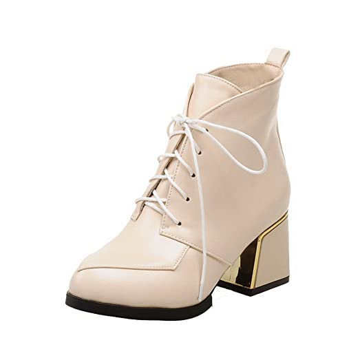 Women's Kitten-Heels Pointed Closed Toe Soft Material Lace-up Boots