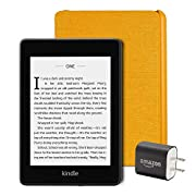 Kindle Paperwhite Essentials Bundle including Kindle Paperwhite – Wifi, Ad Supported, Amazon Water-safe Fabric Cover…