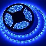 Waterproof Led Strip Lights SMD 3528 16.4 Ft (5M) 300leds 60leds/m Blue Flexible Tape Lighting Tape Lights for Boats, Bathroom, Mirror, Ceiling and Ou