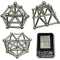 ALEMIN Bloques de construcción magnéticos establecidos Barra magnética, caja de accesorios de educación geométrica de rompecabezas 3D, juguetes de bloques de construcción, desarrollo de 36pcs+27PCs