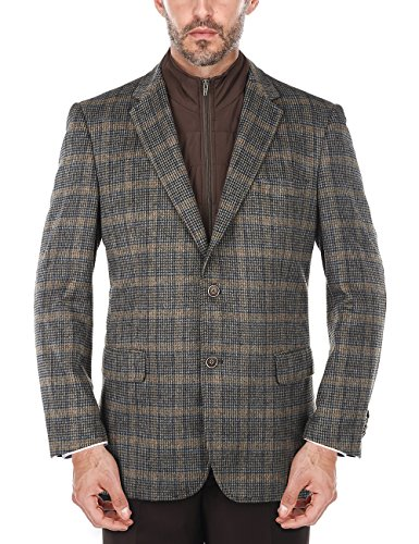 Chama Men's Plaid Wool Blazer, Sports Coat with Removable Bib (Brown, 48L)